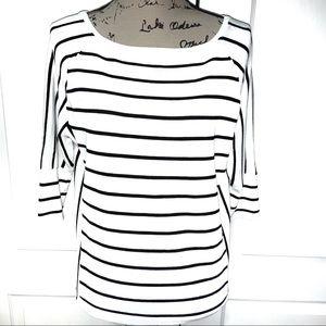📁WHBM Wht/Blk Striped Top 3/4 Sleeve sz S